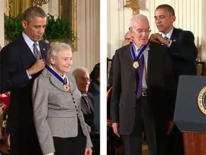 Institute Professors Mildred Dresselhaus and Robert Solow accepted the Presidential Medal of Freedom at a White House ceremony on Monday.
