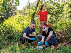 Microbiome researchers, from left, Mathieu Groussin, Mathilde Poyet, and Eric Alm process a human stool sample in Malaysia. Photo: Christopher Corzett