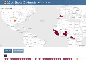 Screenshot: HealthMap's Ebola virus interactive map and timeline.