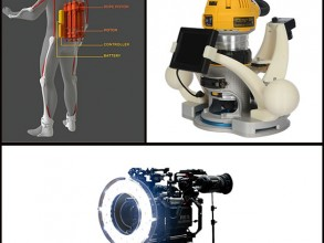 Clockwise from top left: Cyclone Rope Piston by Rise Robotics; handheld CNC router by Taktia; on-camera ring light by LEDStorm. Images: courtesy of the companies.