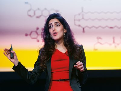 Leila Pirhaji PhD '16 spoke at the MIT Intelligence Quest launch about her startup, ReviveMed, which uses AI technology developed at MIT to leverage data from metabolomics (the study of small molecules) to expedite drug discovery. Pirhaji created the company with support from MIT programs including delta v, iTeams, StartMIT, StartIAP, the $100K Entrepreneurship Competition, and the Sandbox Innovation Fund. Photo: Gretchen Ertl.