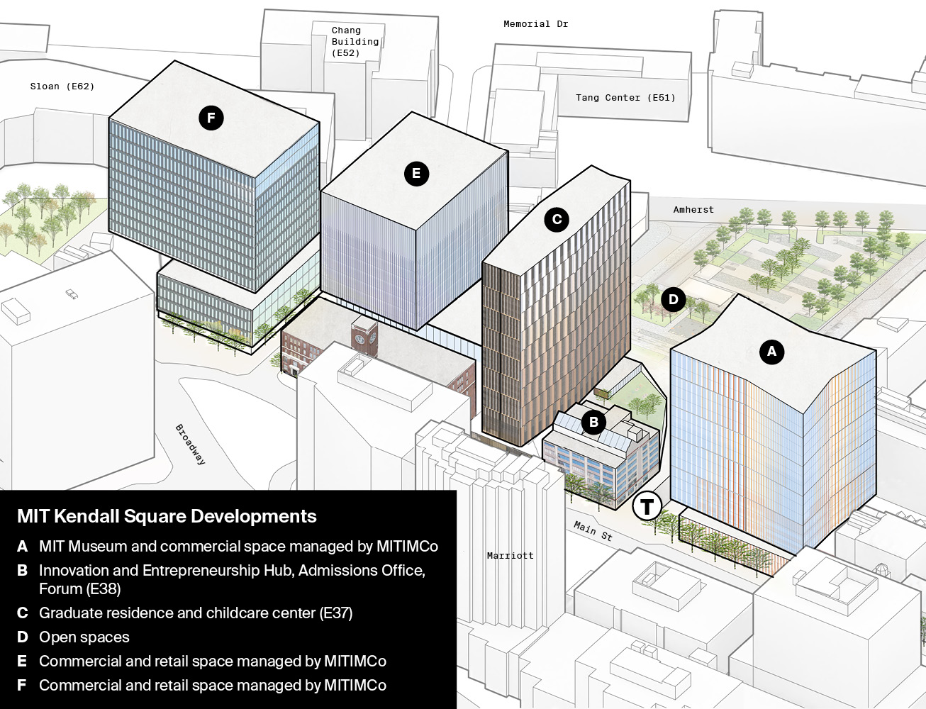 Map illustrating new building locations in Kendall Square