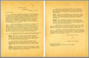 President Roosevelt's letter to Vannevar Bush, written in 1944. Click to see full size.