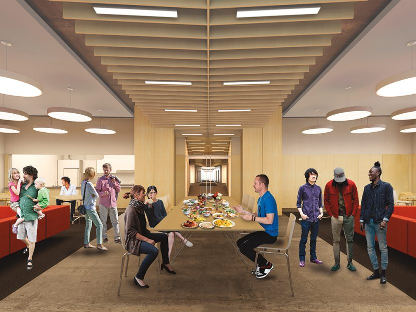 The new graduate residence in Kendall Square will include ample gathering spaces. Image: NADAAA