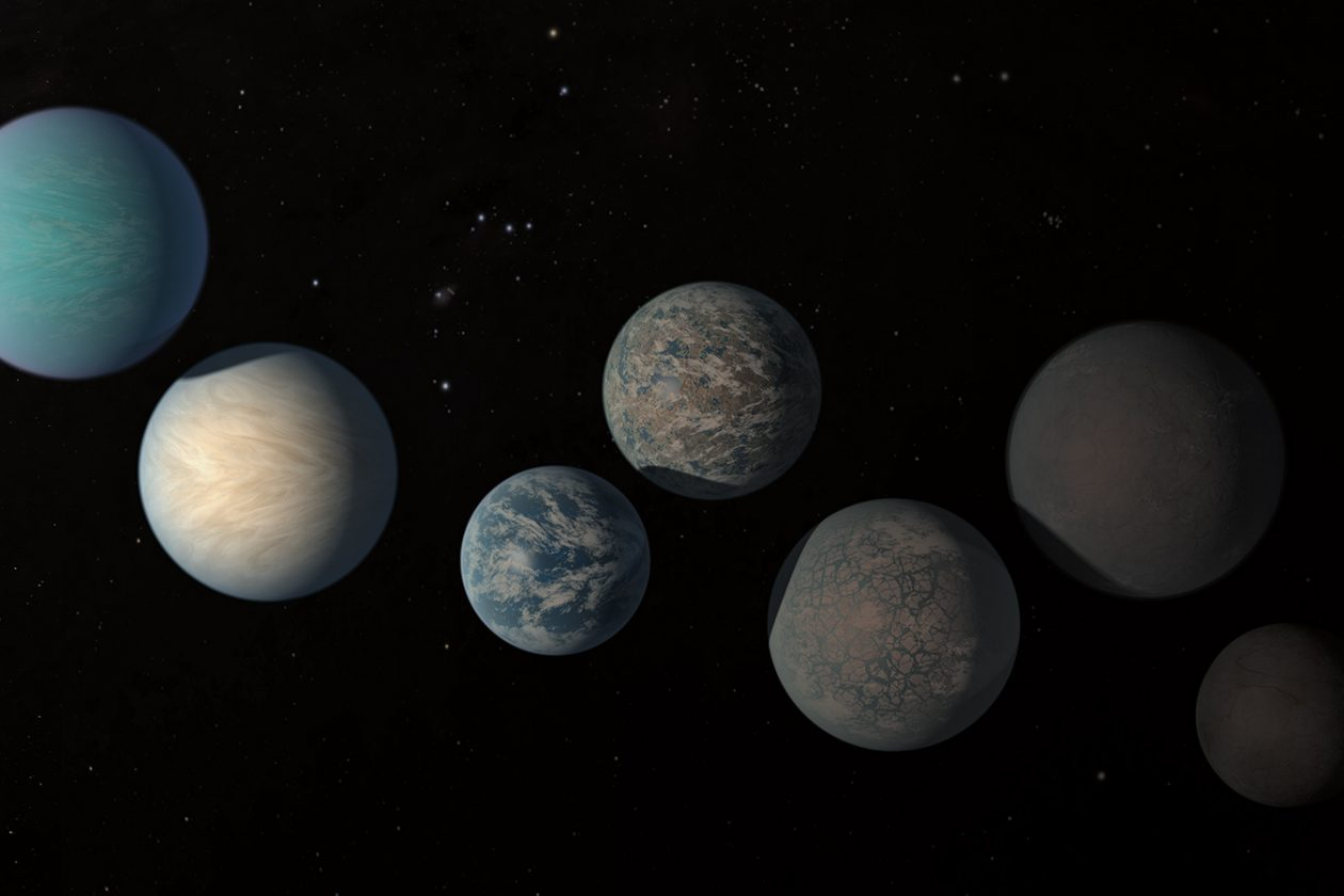 An artist's illustration of the possible surface appearances of some of the Earth-size planets of TRAPPIST-1, based on properties calculated as of February 2018. IMAGE: NASA/JPL-Caltech/R. Hurt, T. Pyle (IPAC)