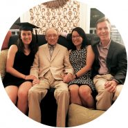 Three generations of MIT alumni in 2017. From left: Melissa Slaughter '17 with her grandfather Samuel Ing '53, SM '54, ScD '59 and her parents Mimi Slaughter '87, SM '88 and Frank Slaughter '84. Photo: Courtesy of Mimi Slaughter
