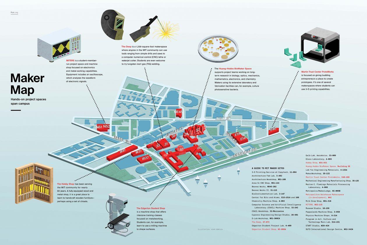 Map illustrating makerspaces on MIT campus. Illustration: Adam Simpson