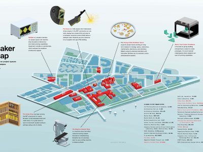 Map illustrating makerspaces on MIT campus. Illustration: Adam Simpson