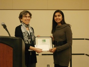Sheela Devadas (right) receives the Alice T. Schafer Prize for Excellence in Mathematics from Professor Ruth Charney of Brandeis University, then president of the Association for Women in Mathematics. Image: Magnhild Lien, executive director, Association for Women in Mathematics