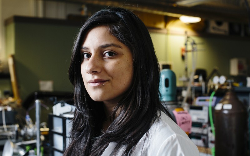 Jocelyn Gonzalez '16 in the W. M. Rohsenow Kendall Heat Transfer Laboratory in MIT's Building 7. Photo: M. Scott Brauer