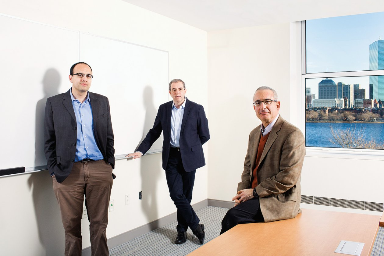 From left, Parag Pathak, David Autor, and Joshua Angrist in the Morris and Sophie Chang Building, home to the MIT Department of Economics. Photo: M. Scott Brauer