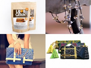 Shop the wares offered by four social enterprises supported by MIT's Public Service Center (clockwise from top left): Love Grain, Emerge Global, Lallitara, Popinjay.