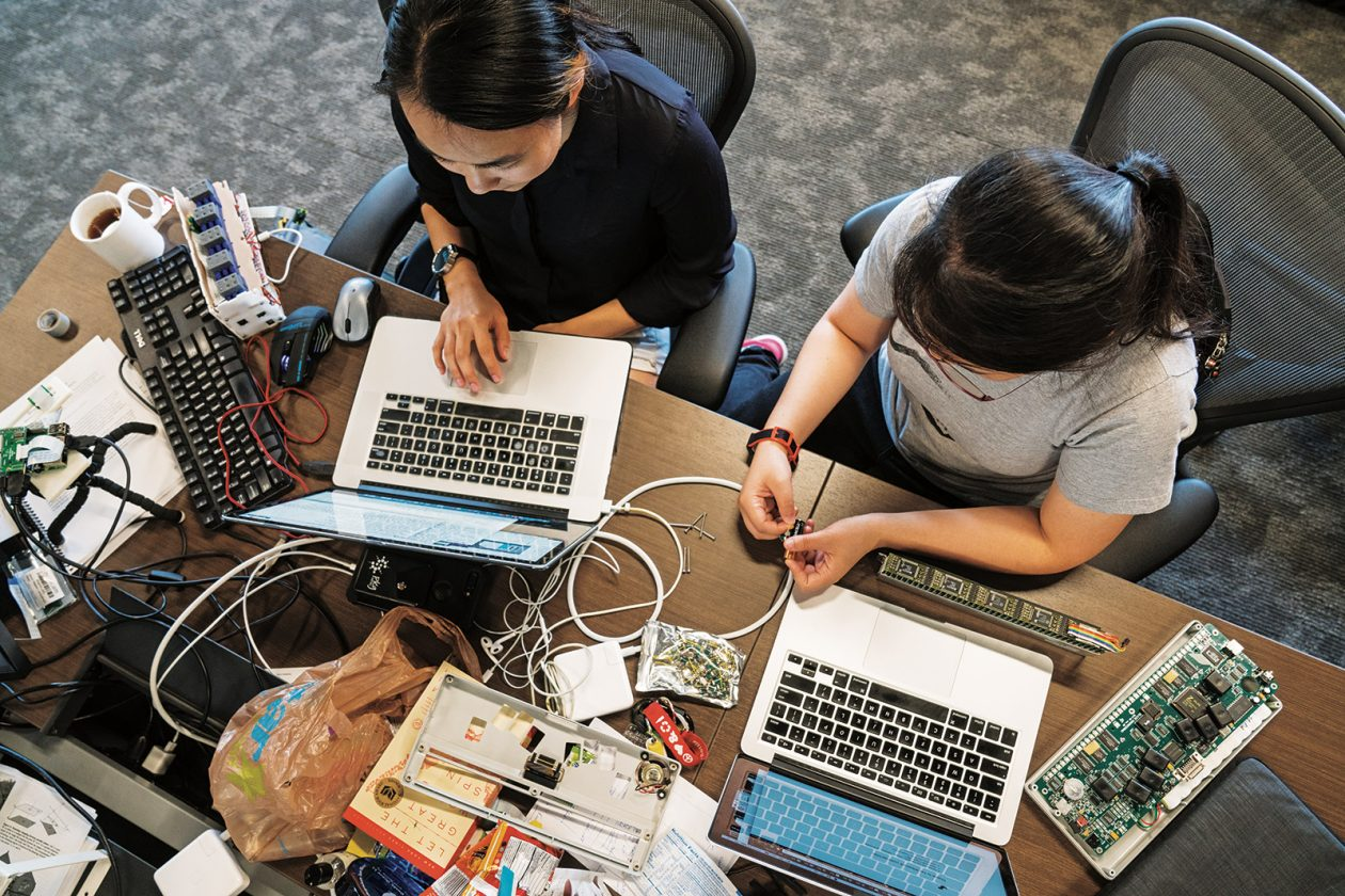 Throughout their time at MIT, students are encouraged to team up and pursue innovative ideas. Jessica Shi '17 (left) and Charlene Xia '17 work during their senior year on a prototype for Tactile, a portable realtime text-to-Braille converter. With four fellow cofounders from the Class of 2017, they are now beta testing their device in Boston. Photo: Lillie Paquette/School of Engineering