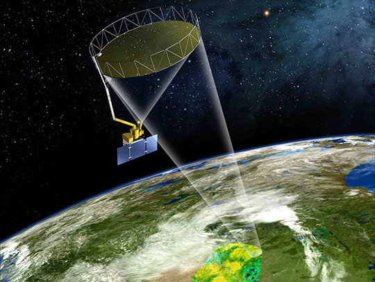 Artist's rendering of the SMAP instrument. Image: courtesy NASA