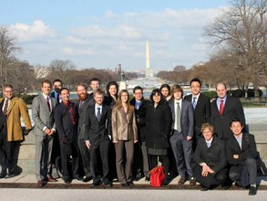 MIT graduate students participating in Congressional Visits Day (left to right): Addison Stark, Geoffrey Supran, Daniel Rothenberg, Dillon Gardner, Andrew Warren, Patrick Brown, Katie Pitz, Michelle Hindman, Michael Wells, Lina Zhu, Jessica Friscia, Jacob Colbert, Wen Jie Ong, Paul Bisso, Alec Bogdanoff, Jerry Wang. Not pictured: John Casey Photo: John Casey