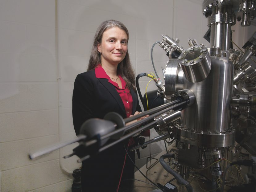 Yildiz uses an array of tools in her research, including scanning tunneling microscopy, X-ray photoelectron spectroscopy, and low-energy electron diffraction. Photo: Bryce Vickmark