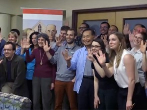 George Takei has some fun during his visit to MIT. Photo: Screenshot/Youtube