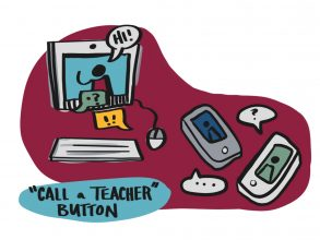 "One ""tent pole"" idea to emerge from the TSL's Imagining September report was a ""call a teacher"" button that would give students better access to teachers during remote situations. Image: Kelvy Bird"