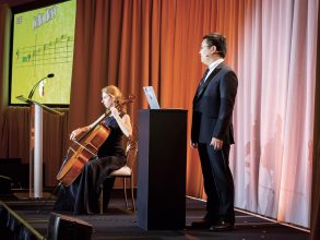 Janelle Sands '19 and Brice Huang '19 demonstrate their final project for Interactive Music Systems: Cello Hero, a gamified feedback tool for novice musicians. Photo: Rose Lincoln