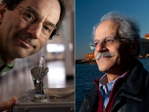 John Lienhard (left) examines the energy footprint of water, while Ahmed Ghoniem (right) examines the water footprint of energy. Photo: Len Rubenstein