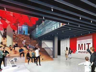 As shown in this artist's rendering, the new home for the MIT Museum will feature a grand lobby that welcomes visitors and provides seating for events. Image:Höweler+Yoon
