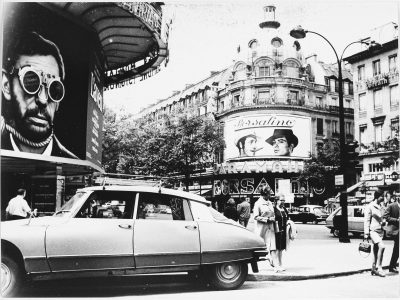 """Submissions to the contest """"C'était Paris en 1970"""" reveal—through their creators' choice of subject, framing, and sometimes pointed captions—how thousands of amateur photographers viewed the capital's history and radical urbanization. From left: """"The Elderly in Paris Before the Expulsion (on the rue Payer whose buildings are destined to be demolished soon)"""" (anonymous); """"New and Old Buildings of Paris, Citroën, rue de Ginoux"""" (anonymous); and """"The Big Movie Theaters of the boulevard des Italians"""" (André Guillemenot)."""