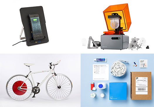 (Clockwise from top) WiTricity, 3-D printing, the Copenhagen Wheel, and PillPack were among Time Magazine's top inventions of 2014.