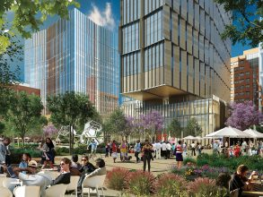 Adjacent to the new MIT Museum and graduate residence, as shown in this artist's rendering, open spaces for gathering will be programmed by MIT and open to all. Image:byencore