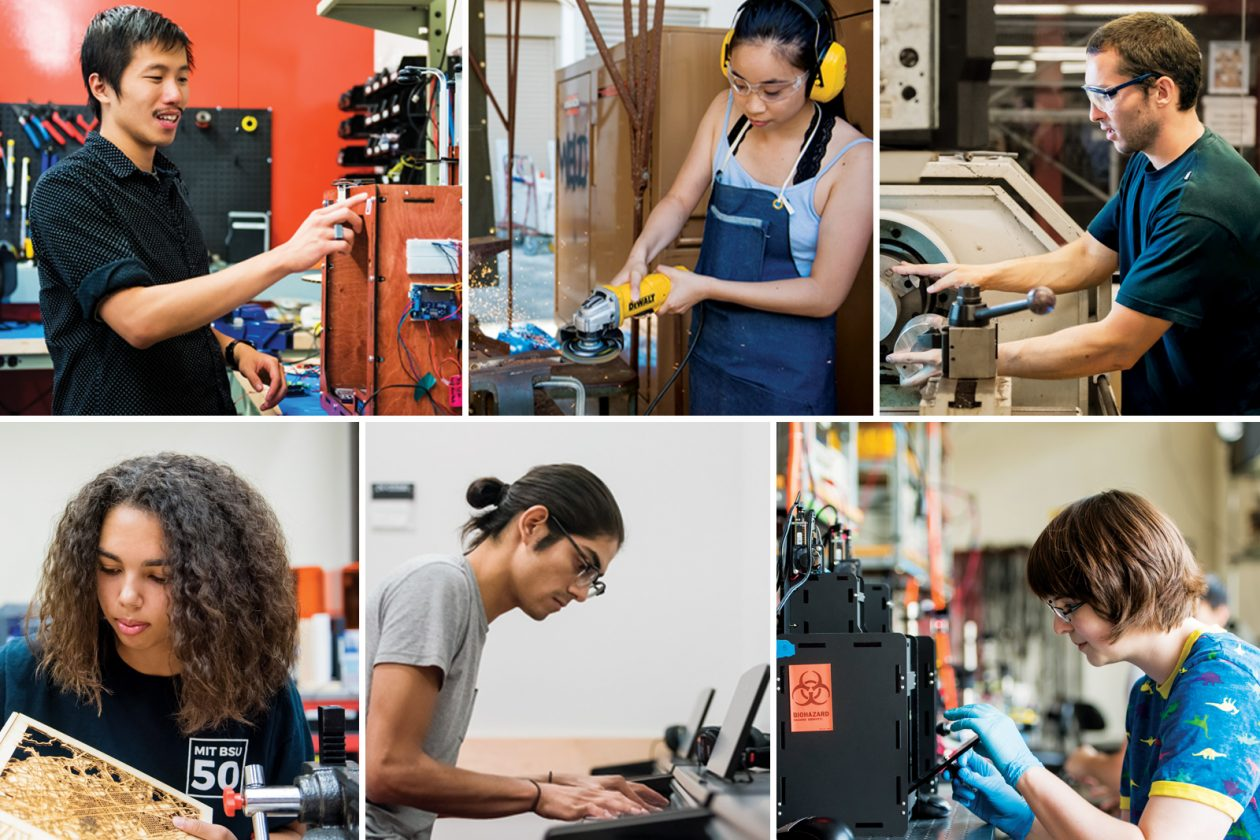 Collage of students in makerspaces. Photos: Sarah Bastille