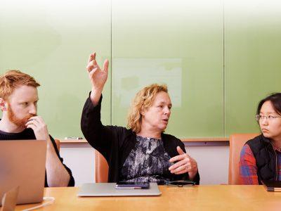 Professor Martha Gray mentors MIT linQ participants. Photo: Ken Richardson